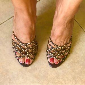 BCBG Girls brown/gold open toed heels, so cute!
